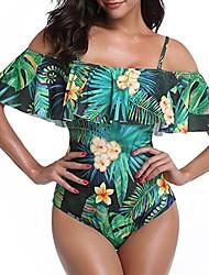 baratos -Mulheres Com Alças Ombro a Ombro Boho Bandeau Maiô - Floral, Frufru Estampado Slip Folha tropical