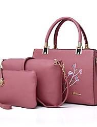 baratos -Mulher Bolsas Couro Ecológico Conjuntos de saco Bordado para Todas as Estações Preto Vermelho Rosa Cinzento