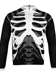cheap -Arsuxeo Long Sleeves Cycling Jersey Skull Bike Jersey, Quick Dry, Anatomic Design, Breathable, Reflective Strips