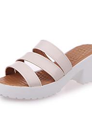 preiswerte -Damen Schuhe Baumwolle Sommer Komfort Sandalen Walking Keilabsatz Peep Toe Schnalle Für Weiß Schwarz Beige Blau