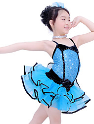 cheap -Kids' Dancewear Outfits Children's Performance Spandex Elastic Organza Velvet Sequined Crystals/Rhinestones Paillette Sleeveless Dropped
