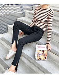 Women's High Rise Micro-elastic Skinny Tights Pants,Simple Vintage Skinny Tights Solid