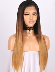 cheap -Women Human Hair Lace Wig Brazilian Remy Glueless Lace Front 150% Density With Baby Hair Straight Wig Black/Medium Brown/Strawberry Blonde