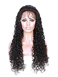cheap -Women Human Hair Lace Wig Peruvian Remy Glueless Lace Front 150% Density With Baby Hair Curly Wig Black Short Medium Length Long Virgin