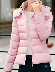 Manteau Doudoune Femme,Normal simple Sortie Décontracté / Quotidien Couleur Pleine-Acrylique Polyester Polypropylène Manches Longues