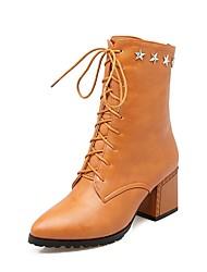 Femme Chaussures Similicuir Printemps Automne Confort Bottes à la Mode Bottes Bout pointu Bottes Mi-mollet Rivet Pour Décontracté Habillé