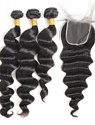 Недорогие -Перуанские волосы Натуральные волосы Реми Свободные волны Высокое качество Ткет человеческих волос 4шт