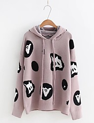 Women's Casual/Daily Regular Pullover,Print Hooded Long Sleeves Wool Cotton Fall Winter Thick Stretchy
