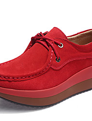 cheap -Women's Shoes Suede Fall Winter Comfort Oxfords Swing Shoes For Sports & Outdoor Casual Blue Red Gray Black