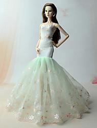 Недорогие -Платье куклы Платья Для Barbie Цветочный принт Вышивка Цветочные ботанический Зеленый Лён / Хлопок Кружево органза Платье Для Девичий игрушки куклы
