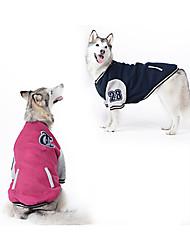 Собака Толстовка Бейсбол Одежда для собак Мода Спорт Контрастных цветов Темно-синий Красный Костюм Для домашних животных