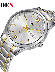 cheap -BIDEN Men's Quartz Wrist Watch Chinese Calendar / date / day / Casual Watch Stainless Steel Band Casual / Elegant / Fashion Silver / Gold