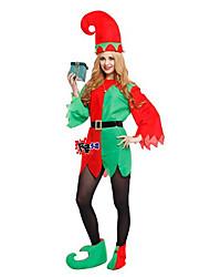 Urlaub Burleske/Clown Weihnachtsmann Elf Austattungen Mann Halloween Weihnachten Fest/Feiertage Halloween Kostüme Rot Patchwork