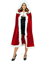 cheap -Santa Suit Mrs.Claus Santa Claus Cloak Women's Christmas Festival / Holiday Halloween Costumes Red Solid Colored