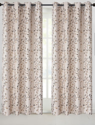 cheap -Rod Pocket Grommet Top Tab Top Double Pleat Pencil Pleat Curtain Country, Jacquard Floral Bedroom Polyester Blend Material Blackout