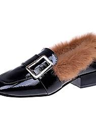 Femme Chaussures Polyuréthane Hiver boîtes de Combat Mocassins et Chaussons+D6148 Bout rond Strass Pour Décontracté Beige Marron