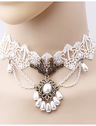 cheap -Women's Choker Necklace - Imitation Pearl Flower Simple, Fashion White Necklace One-piece Suit For Daily