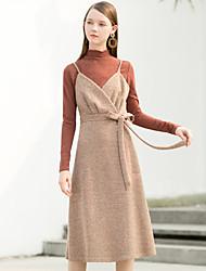 T-shirt Da donna Per uscire Casual Vintage Inverno Autunno,Tinta unita A collo alto Cotone Maniche lunghe Medio spessore