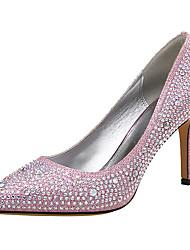 preiswerte -Damen Schuhe Glitzer / Kunststoff Frühling / Herbst Pumps High Heels Null Stöckelabsatz Spitze Zehe Null Strass Schwarz / Silber / Rosa