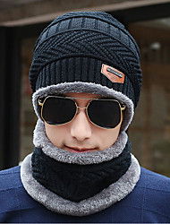 Men's Sweater Floppy Hat,Work Casual Solid Winter Knitted Gray Black