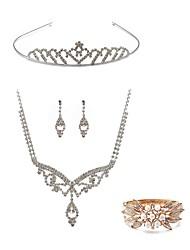 cheap -Women's Rhinestone Pearl / Imitation Diamond Jewelry Set Body Jewelry / 1 Necklace / 1 Ring - Fashion / European White Tiaras / Bridal