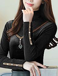 baratos -Mulheres Polo Vintage Sólido Fibra Sintética Colarinho Chinês