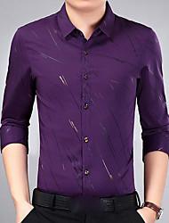 Masculino Camisa Social Para Noite Casual Moda de Rua Primavera Outono,Estampado Poliéster Colarinho de Camisa Manga Comprida Média