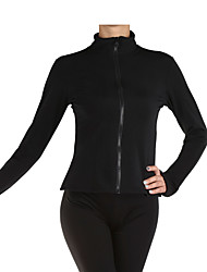 cheap -Figure Skating Fleece Jacket Women's / Girls' Ice Skating Top Black Spandex Stretchy Performance / Practise Skating Wear Solid Colored