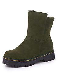 abordables -Mujer Zapatos Cuero Nobuck Ante PU Invierno Otoño Confort Forro de piel Botas Tacón Plano Dedo redondo para Casual Negro Marrón Verde