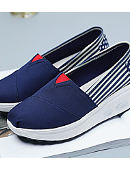 cheap -Women's Shoes Canvas Spring Fall Comfort Loafers & Slip-Ons Wedge Heel for Casual Blue Red
