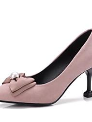 baratos -Mulheres Sapatos Flanelado / Materiais Customizados Primavera / Outono Inovador Saltos Salto Alto Ponta Redonda Preto / Vermelho / Rosa