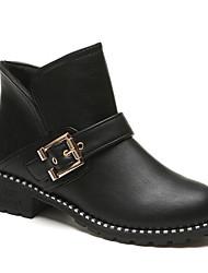 Feminino Sapatos Couro Ecológico Primavera Outono Conforto Curta/Ankle Botas Salto Robusto Botas Curtas / Ankle para Casual Preto Vinho