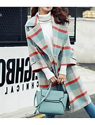 preiswerte -Damen Solide Retro Alltag Mantel,Rundhalsausschnitt Winter Kurze Ärmel Standard Baumwolle Acryl Gefaltet