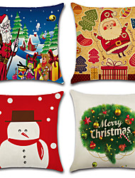 cheap -Set Of 4 Father Christmas Snowman Pattern Pillow Cover Classic Sofa Cushion Cover