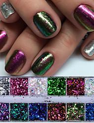 Недорогие -1 комплект Блеск и сияние Пайетки Гель для ногтей Пайетки Порошок блеска Гель для ногтей Как на фотографии Дизайн ногтей Советы для ногтей