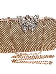 baratos -Mulheres Bolsas Metal Bolsa de Festa Detalhes em Cristal Dourado / Prata