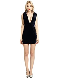 cheap -Women's Party Club Vintage Casual Sexy Bodycon Sheath Dress,Solid Deep V Above Knee Sleeveless Rayon Polyester Spandex All Season Spring