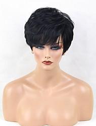 abordables -Perruques capless à cheveux humains Cheveux humains Bouclé Ondulation Naturelle Coupe Lutin Partie latérale Court Fabriqué à la machine