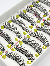 cheap -10 Eyelashes lash Full Strip Lashes Eyelash Natural Long The End Is Longer Natural Handmade Fiber Black Band 0.07mm