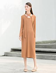 levne -Dámské Volné Šaty - Jednobarevné Do U Vysoký pas