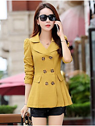 cheap -Women's Cotton Trench Coat - Solid Colored Peter Pan Collar