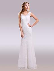 cheap -Mermaid / Trumpet V-neck Floor Length Lace Satin Wedding Dress with Beading Lace by Nameilisha