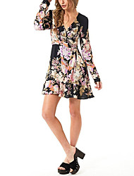 cheap -Women's Holiday Casual/Daily Street chic Sheath Dress,Floral V Neck Above Knee Long Sleeve Polyester Winter Fall High Waist Inelastic