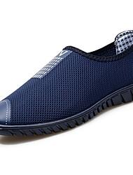 baratos -Homens sapatos Malha Respirável Verão Conforto Mocassins e Slip-Ons para Casual Preto Azul Escuro Cinzento