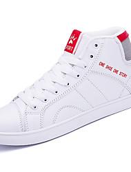 baratos -Homens sapatos Pele Napa Inverno Outono Conforto Tênis Cadarço de Borracha para Ao ar livre Branco Preto