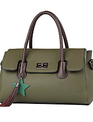 cheap -Women's Bags PU Shoulder Bag Tassel Zipper for Event/Party Office & Career All Seasons Green Red Gray Brown