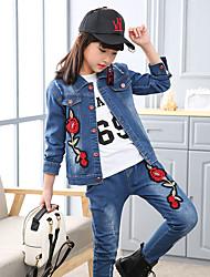 Para Meninas Conjunto Diário Floral Bordado Todas as Estações Algodão Manga Comprida Fofo Azul