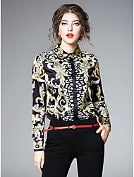 cheap -Women's Daily Sophisticated All Seasons Shirt,Floral Print Shirt Collar Long Sleeve Polyester