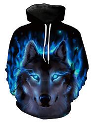 cheap -Men's Plus Size Long Sleeve Hoodie & Sweatshirt - Animal, Print Hooded
