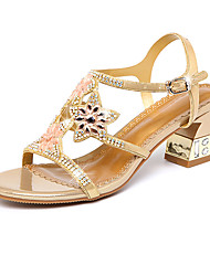 cheap -Women's Shoes Synthetic Microfiber PU Spring / Summer Comfort / Novelty Sandals Chunky Heel Open Toe Rhinestone / Crystal / Buckle Gold /